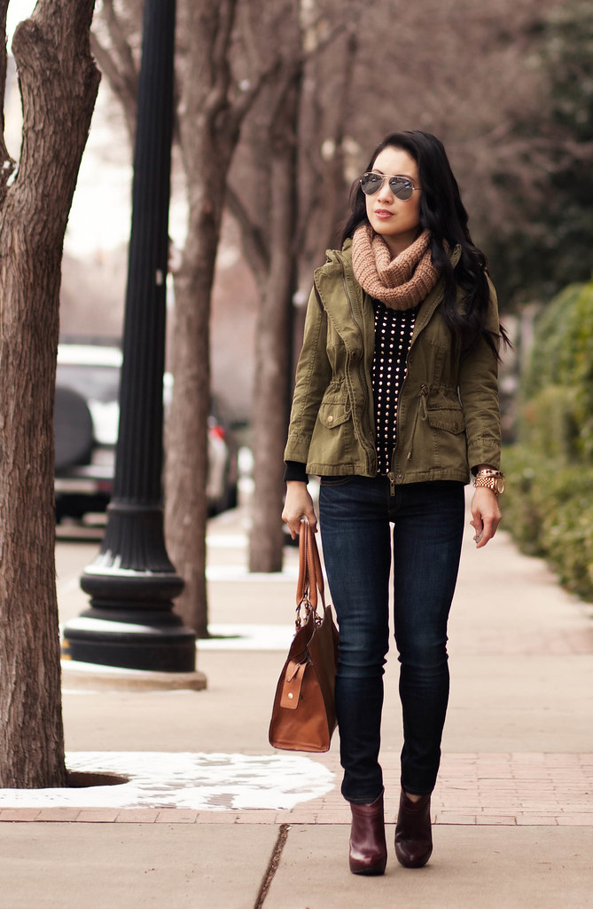cute & little blog | fall/winter layering outfit | tan cowl scarf, utility jacket, black gold studded sweater, rag bone skinny jeans, ankle boots, ray ban silver mirrored aviator sunglasses