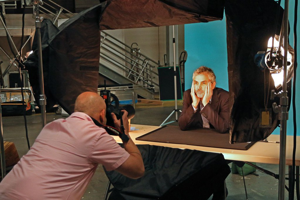 Alfonso Cuarón gets his photo taken by Jon Rou, LMU Magazine.