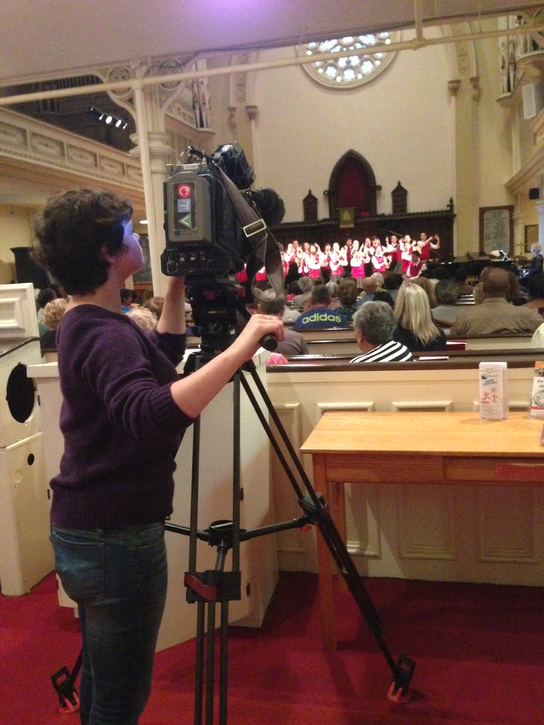 Los Angles Children's Chorus being filmed for Canadian television at its first concert in Halifax, Nova Scotia in St. Matthew's United Church