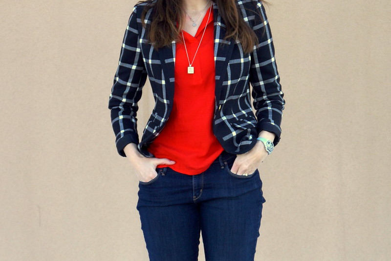 red Target Merona shirt top and black and white plaid