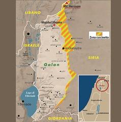 Mappa del Golan occupato (Fonte cartina: Limes online)