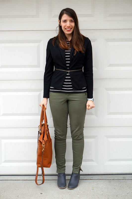 green cargo pants and black blazer