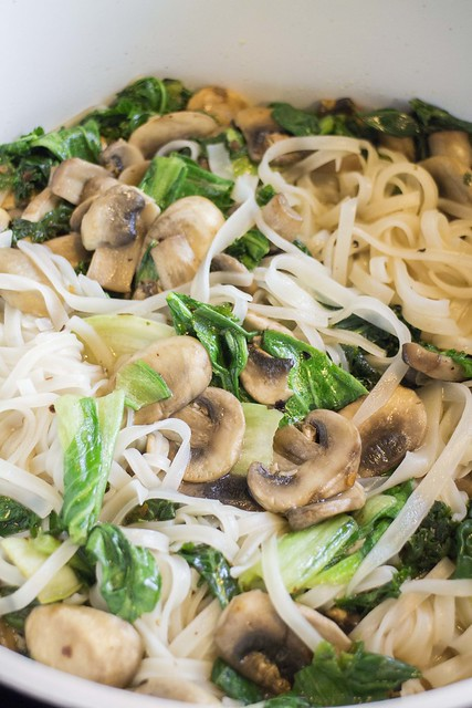 Easy 15 minute Asian dish recipe for Spicy Bok Choy Noodles. These Spicy Noodles include Bok Choy, Kale and Mushrooms making them a vegetable lover's dream!