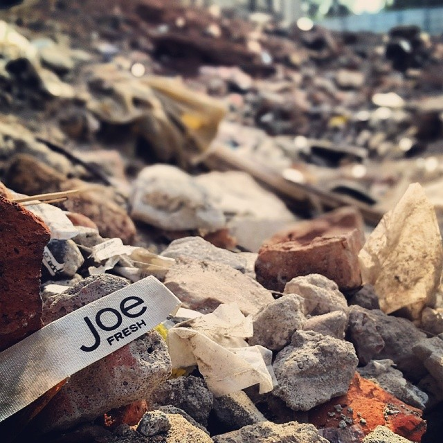 A reminder amidst the rubble of what over 1,000 people died for in the Rana Plaza garment factory collapse in Bangladesh.