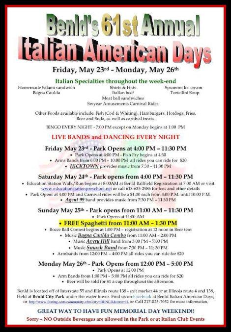 Benld Italian American Days 5-23 thru 5-26-14