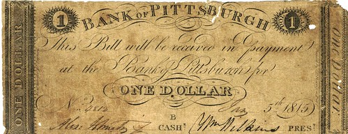 1815 Bank of Pittsburgh One Dollar note