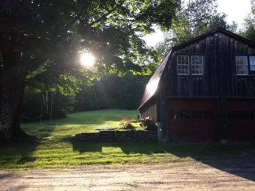 sunset farmhouse barn yard vermont swing