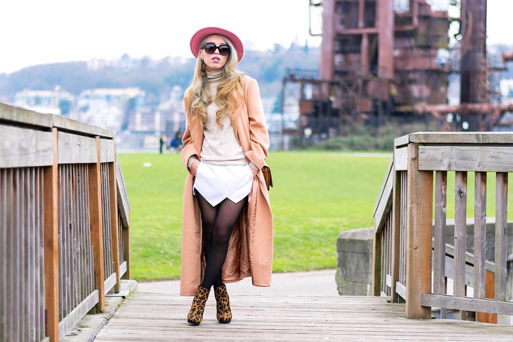 ASOS Hat amp Camel Coat amp Leopar Booties_ZARA Turtleneck amp Skort_Buffalo Exchange Vintage Bag_Celine New Audrey Sunglasses