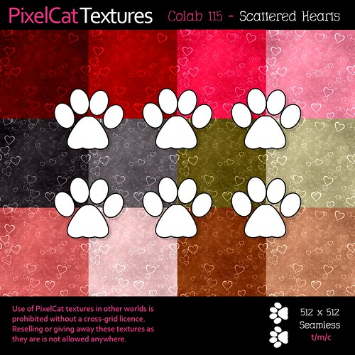 PixelCat Textures - Colab 115 - Scattered Hearts