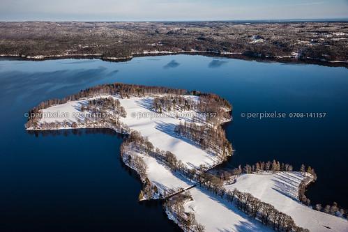 vinter sverige swe västragötaland flygfoto baldersnäs laxsjön billingsfors ekebol