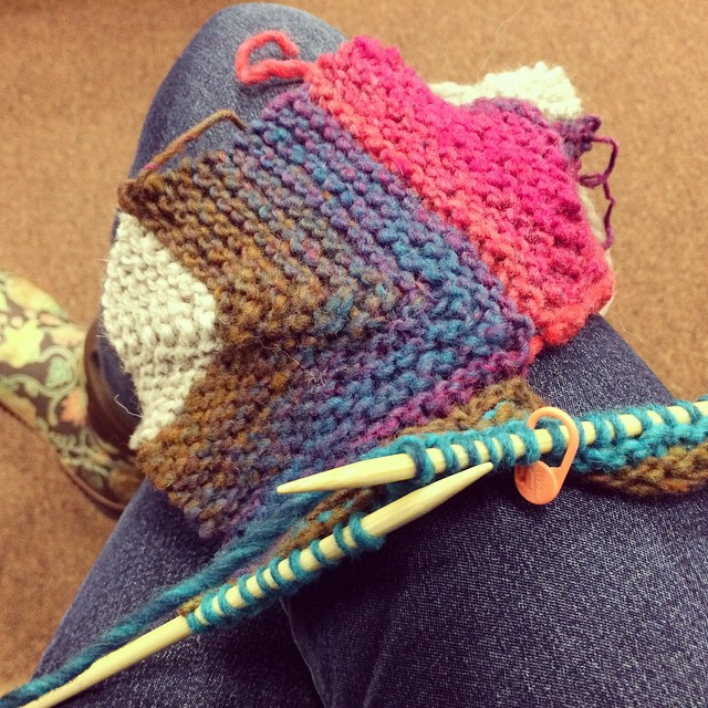 Knitting in the waiting room. My hands are still kinda wibbly from all the shoveling.