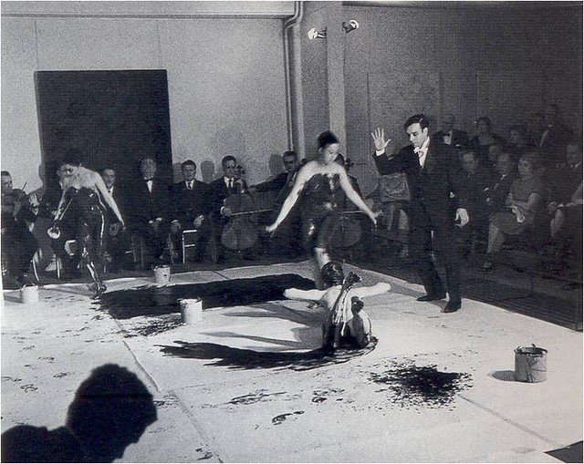 Anthropométries de l'époque bleue, Galerie internationale d'art contemporain, Paris, France, 9 March 1960  Artistic action of Yves Klein © Yves Klein, ADAGP, Paris, 2015 Collaboration Harry Shunk and Janos Kender © J.Paul Getty Trust.