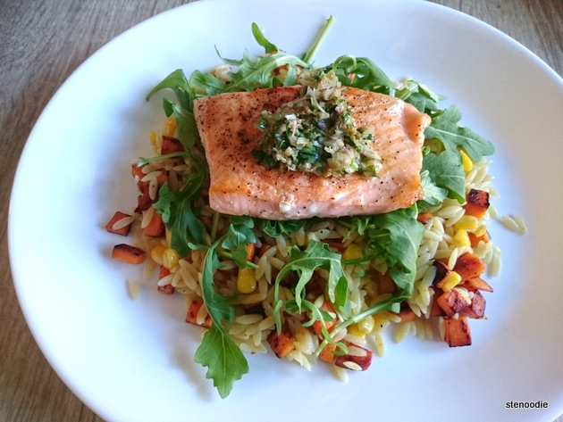 Salmon and Herb Salsa with Orzo, Sweet Potatoes, and Baby Arugula