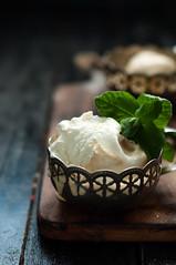 vanilla ice cream with mint leaves