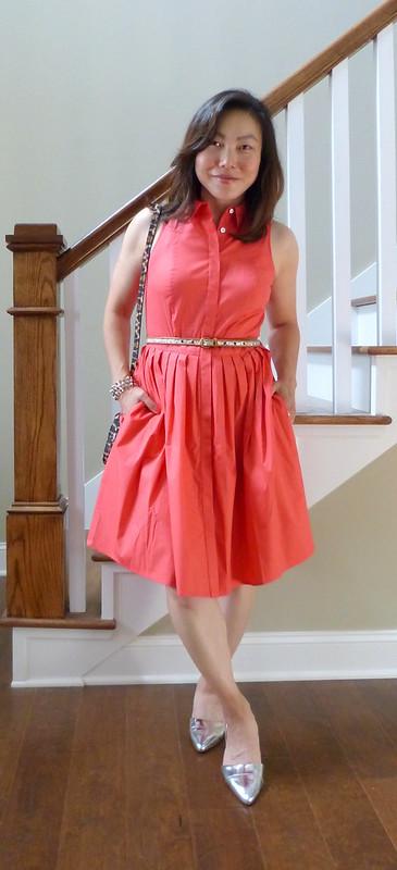 coral shirt dress