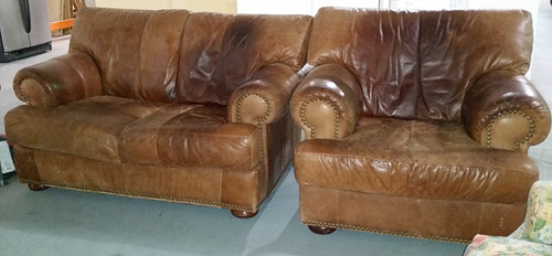Leather loveseat $150, chair $100