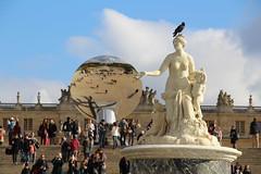 Kapoor Versailles - Sky Mirror, Bassin de Latone and a raven