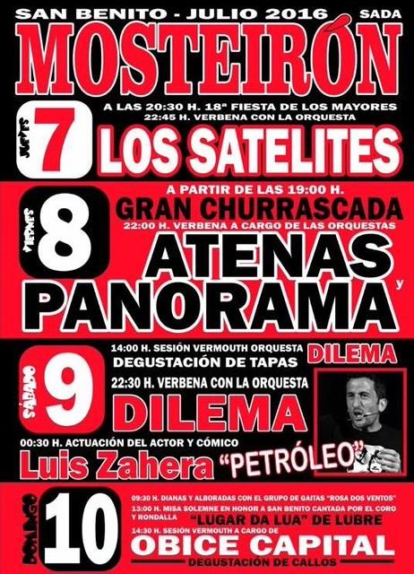Sada 2016 - Festas de San Bieito en Mosteirón - cartel