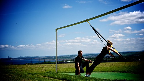 Tim Jordan • Personal Trainer Edinburgh • Outdoor Training • TRX • Chest Press