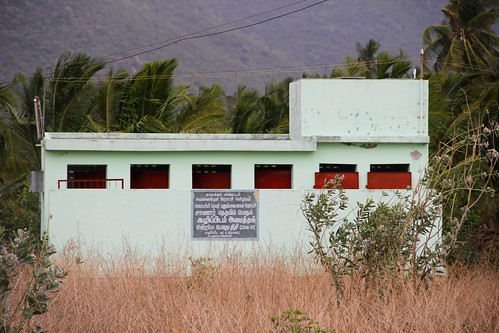 Due to lack of water supply, this community toilet complex is left to rot in a Tamil Nadu village
