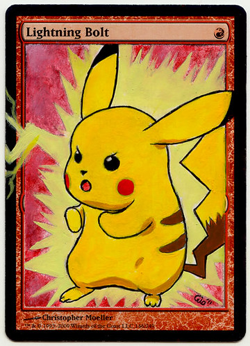 Lightning Bolt altered art magic the gathering Pikachu Pokemon card artist alter