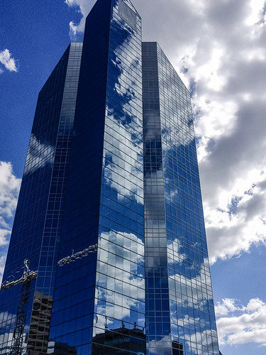 All glass, clouds and sky watching changes at Sheppard and Yonge - #206/365 by PJMixer
