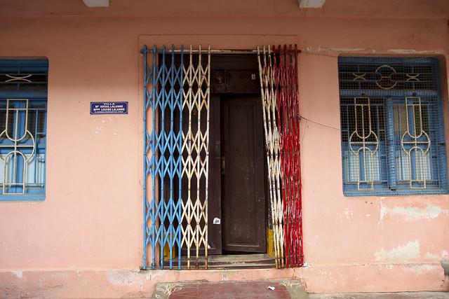 French flag on Pondicherry door