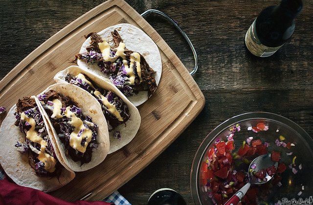 BBQ Brisket Tacos with Dubliner Cheese Sauce via GirlCarnivore.com