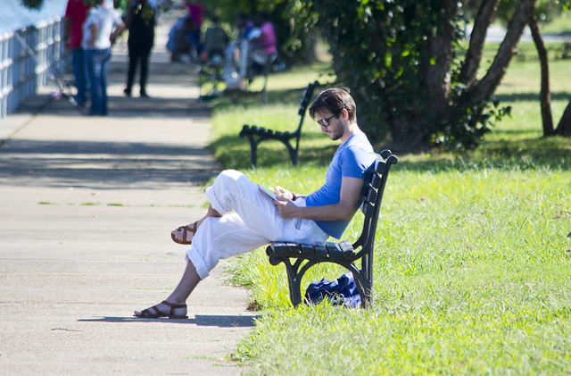 handsome reader - East Potomac Park - 2013-08-25