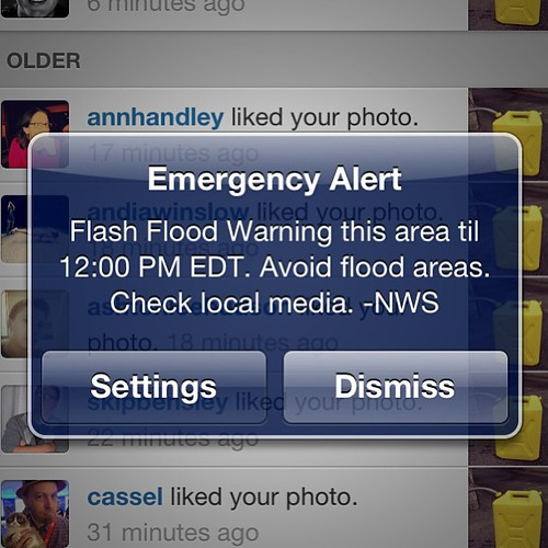 Emergency Alert: Flash Flood Warning this area until noon. #bmm never cancels. ;-)