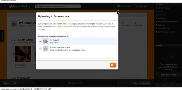 Grooveshark upload