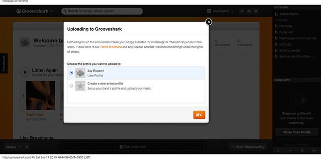 Grooveshark upload