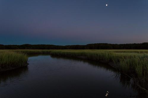 moon nature water night newjersey unitedstates dusk marsh saltmarsh matawan cheesequake