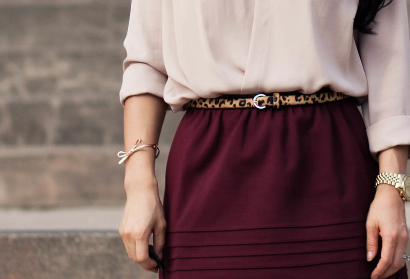 rose surplice top, oxblood full skirt, leopard belt, brown patent pumps, kate spade mini bow | nordstrom YOUphoria | petite fashion
