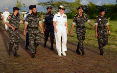 Rear Adm. Cindy Thebaud, commander of Logistics Group Western Pacific, speaks to Bangladesh Navy sailors attached to Special Warfare Diving and Salvage Command on the opening day of CARAT Bangladesh. (U.S. Navy photo by Mass Communication Specialist 1st Class Jay C. Pugh)
