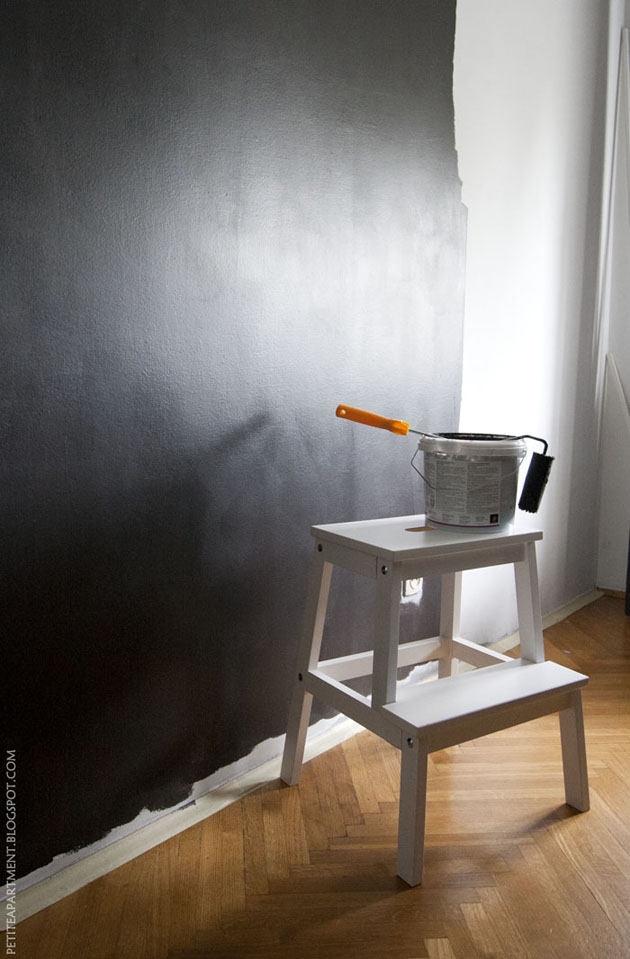 painting wall in black dark grey color