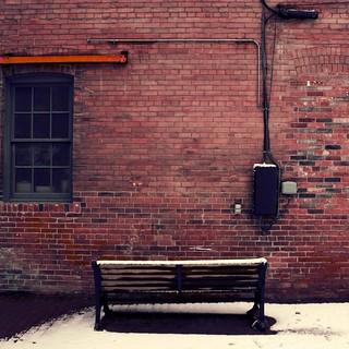 Image of Don Valley Brick Works. ca winter snow toronto ontario canada brick bench 2008 on