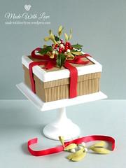 Holly and Mistletoe Christmas Box Cake