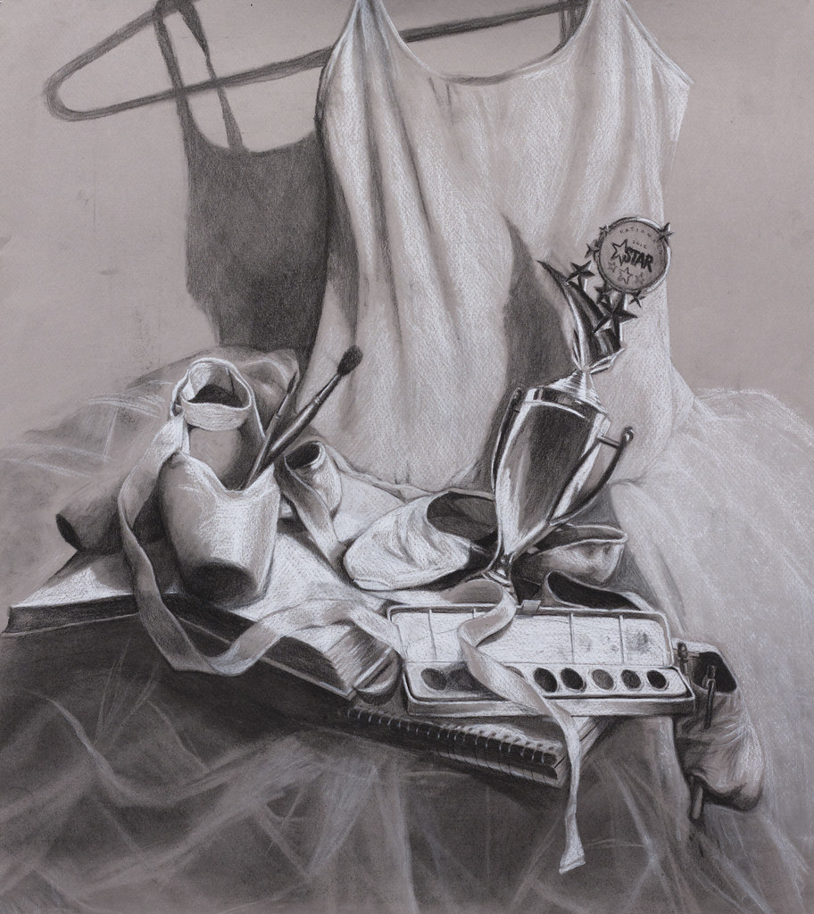 "Mandie Reiber Self Portrait Still Life 22"" x 20"" Charcoal and Pastel 2012"