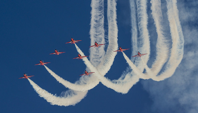 Red Arrows over RAF Scampton, Lincolnshire