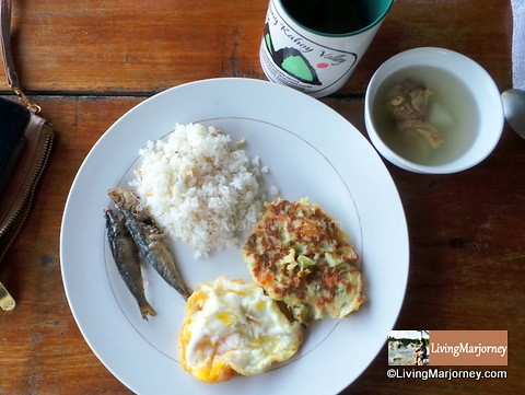 Sayote Omelet, Fried egg and Tuyo