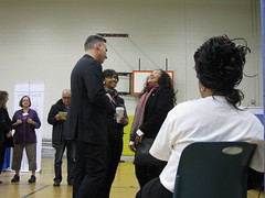 Executive Constantine at the health care enrollment event at Miller Community Center