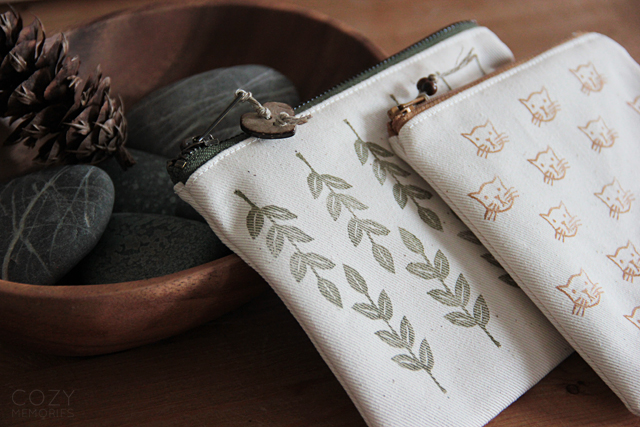 hand stamped pouches