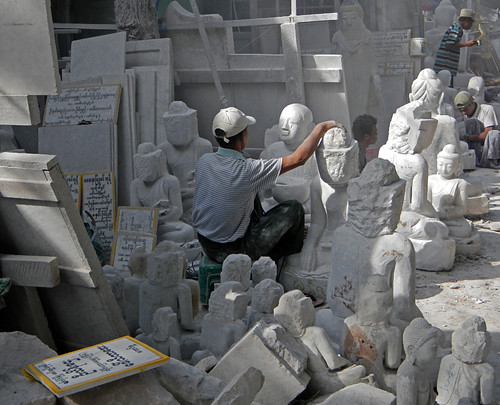 on the Street of Stone Carvers in Mandalay, 1000 Buddhas