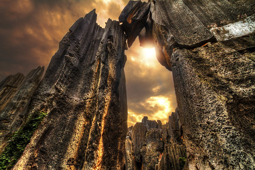 china sunset sky clouds rocks asia dramatic limestone yunnan shilin unescoworldheritage hdr stoneforest 石林 canon1022 scenicarea canon7d milamai