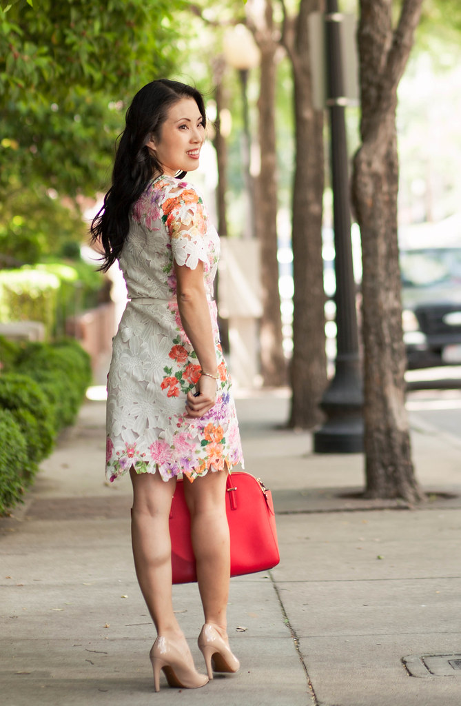 cute & little blog | petite fashion | choies floral cutout lace dress, kate spade red tote | spring outfit