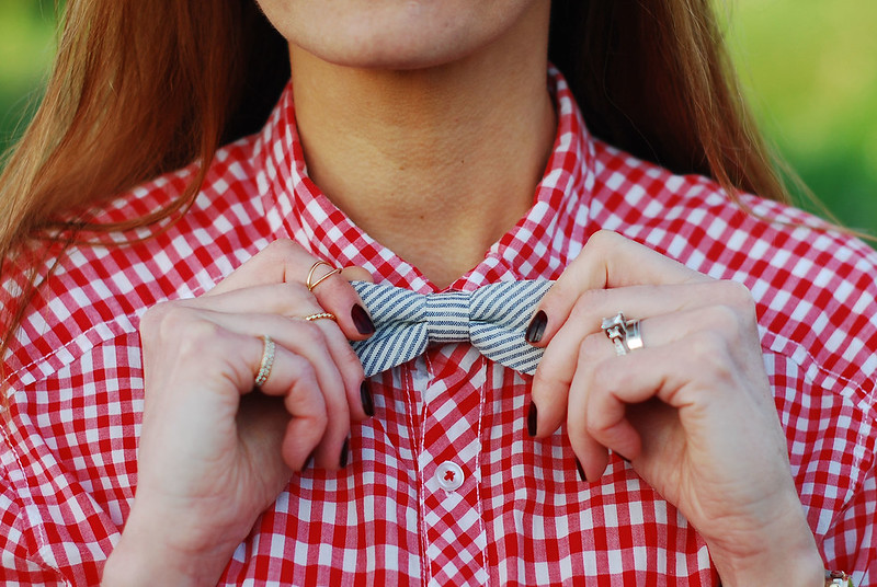 Girls wearing bow ties | With red gingham