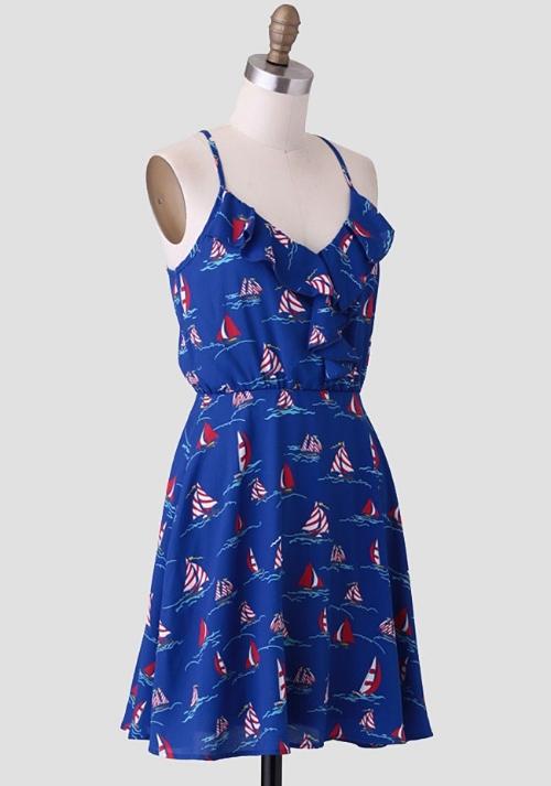Ruche Set Sail Printed Dress