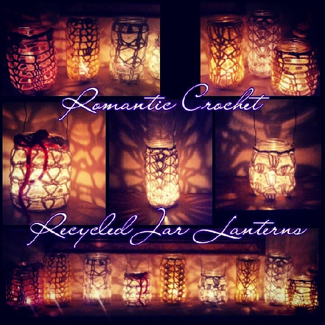 Romantic Recycled jar lanterns. Add a citronella candle and hang from trees, summer umbrellas, or place on a table for a simple elegant barbeque or wedding centerpiece. Check my etsy store! https://www.etsy.com/shop/PhoenixRoseDesign   #PhoenixRoseDesign