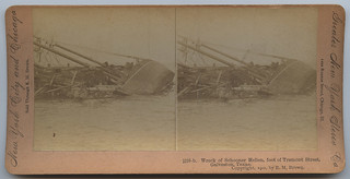 Wreck of Schooner Hellen, foot of Tremont Street, Galveston, Texas.